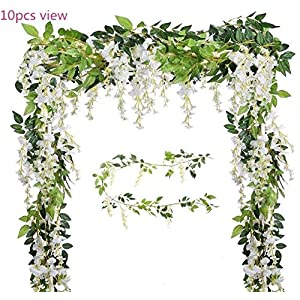 Malka's Wisteria Garland 4 Pack 6.6ft/Piece White Artificial Hanging Silk Home Garden Outdoor Party Wedding Arch Festive Decor 3