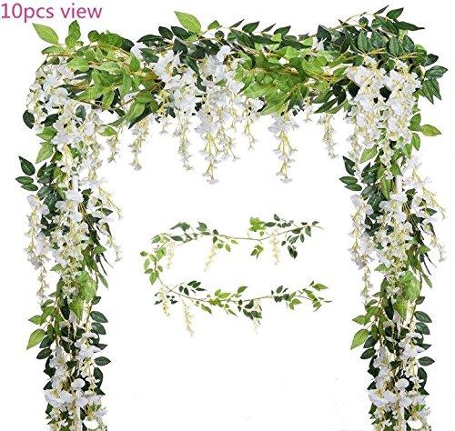 Malka's Wisteria Garland 4 Pack 6.6ft/Piece White Artificial Hanging Silk Home Garden Outdoor Party Wedding Arch Festive Decor -