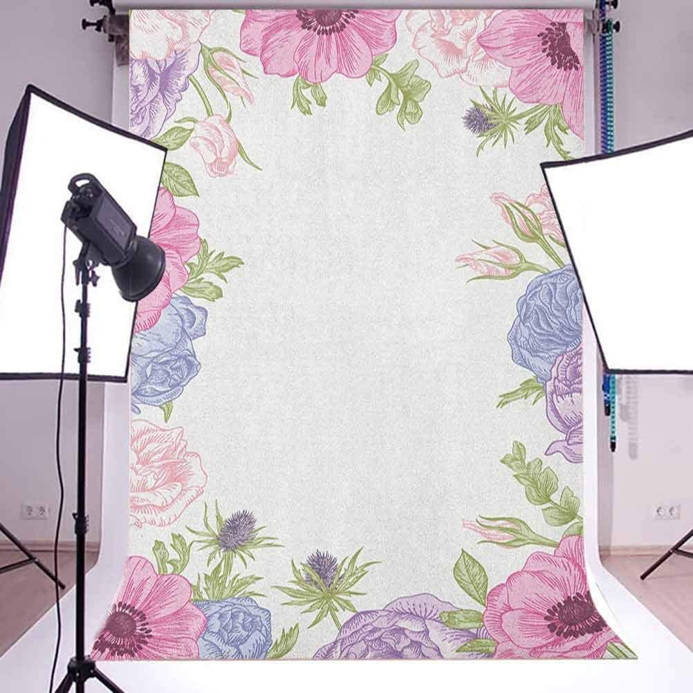 9x16 FT Anemone Flower Vinyl Photography Backdrop,Hand Drawn Framework with Fresh Summer Flora Bridal Wedding Theme Background for Baby Shower Bridal Wedding Studio Photography Pictures