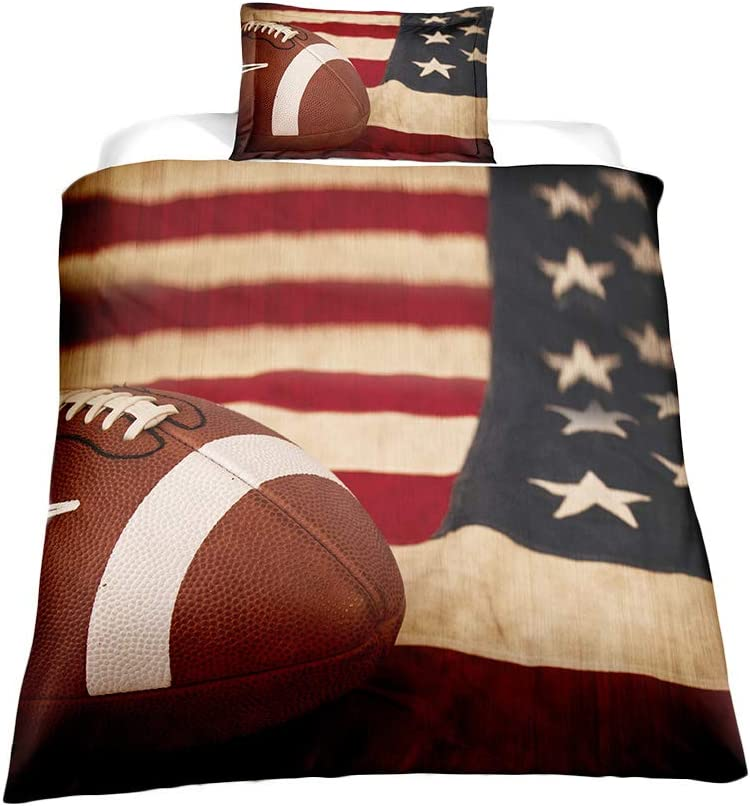 ADASMILE A & S 3D American Flag Football Bedding Set Kids 2 Piece Duvet Cover Set with Pillow Shams for Teens Boys Girls, Twin Size