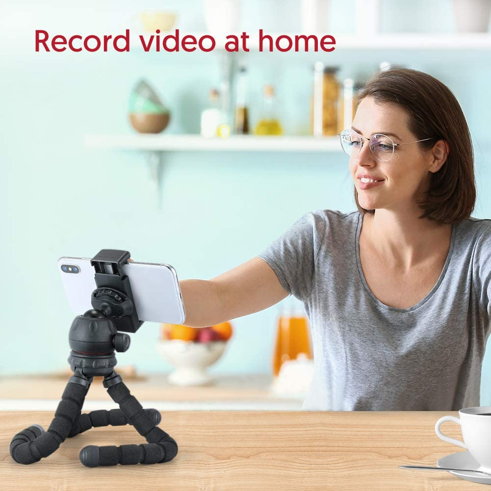 Phone Tripod ESDDI Portable and Adjustable Phone and Camera Stand with Phone Holder and 360 Degree Rotating Ball Head Suitable for Online Live Streaming and Video Conference