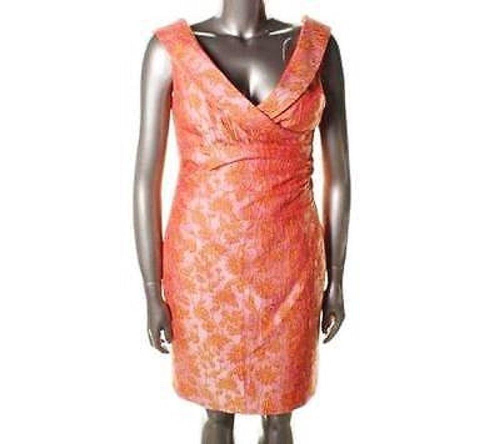 Kay Unger New Orange & Pink Jaquard Floral Print Shawl Neck Sheath ...