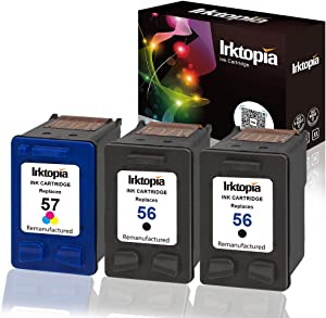 Inktopia Remanufactured for HP 56 57 (C9321FN, C9321FN140) Ink Cartridges 2 Black 1 Tri-Color for HP Deskjet 450 5550 5650 5850 9650 9680 Officejet 4215 5610 6110 Photosmart 7260 7350 7450 7550