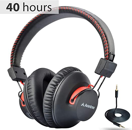 Avantree Audition 40 hr Bluetooth Over Ear Headphones with Microphone for PC Computer Phone Call, aptX HiFi Stereo, Comfortable Wireless Headset with Mic for Home Office Conference, Skype, with NFC