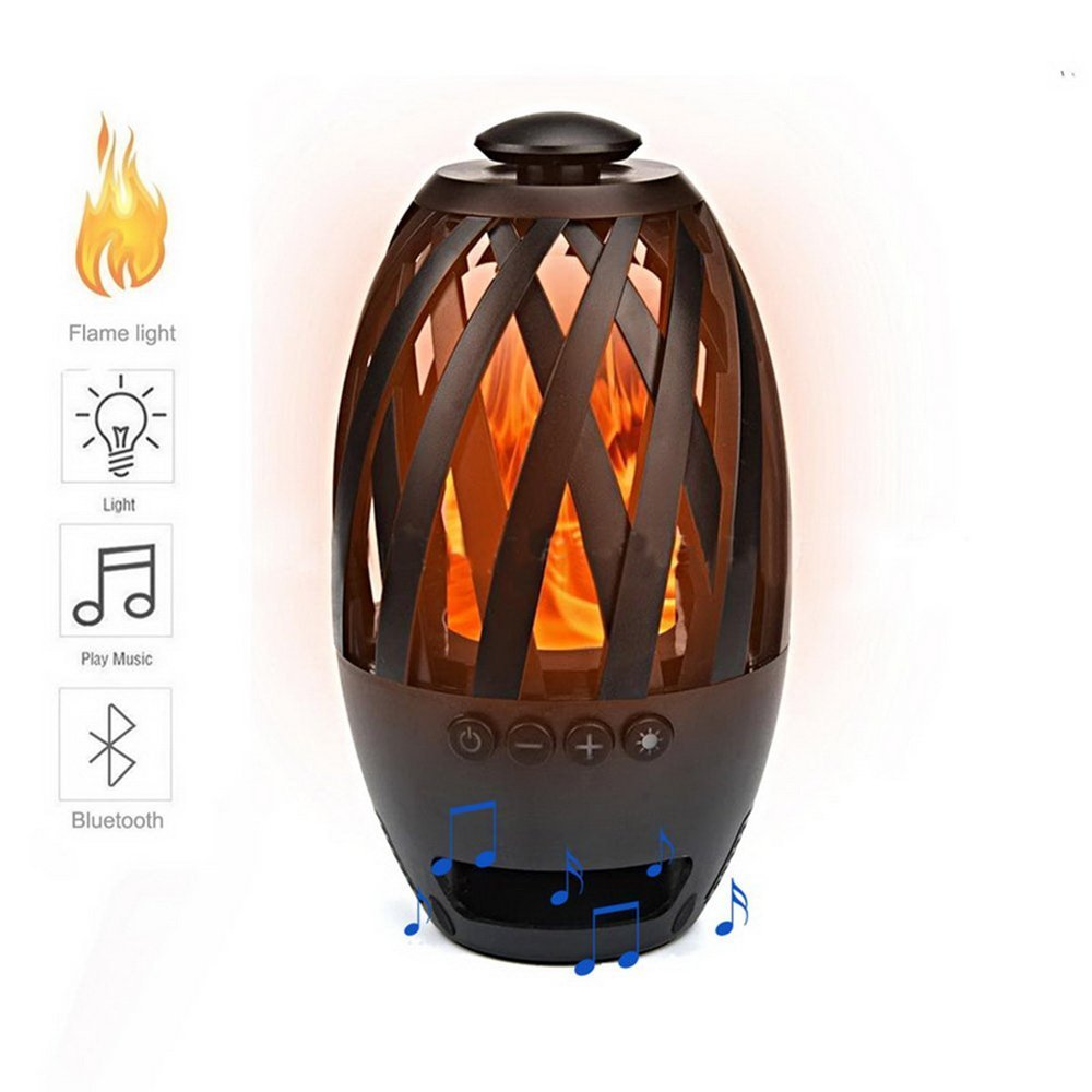 Fosa LED Flame Lamp Bluetooth Speaker, Touch LED Night Light Wireless Bluetooth Speaker, Outdoor Portable Stereo Speaker with HD Audio, Enhanced Bass, Waterproof & 96 LED Flickers Warm Yellow Dancing