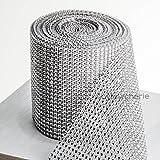 Hayley Cherie Silver Diamond Rhinestone Ribbon BULK Wrap - 4.6 Inches x 10 Yards (30 Feet) – 24 Rows - Crystal Bling Mesh Roll – Wedding, Bridal or Party Decorations