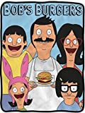 Bob's Burgers Soft Fleece Blanket - Officially licensed colorful Soft Fleece Throw Featuring Bob with a Burger, Linda, Louise, Tina & Gene!