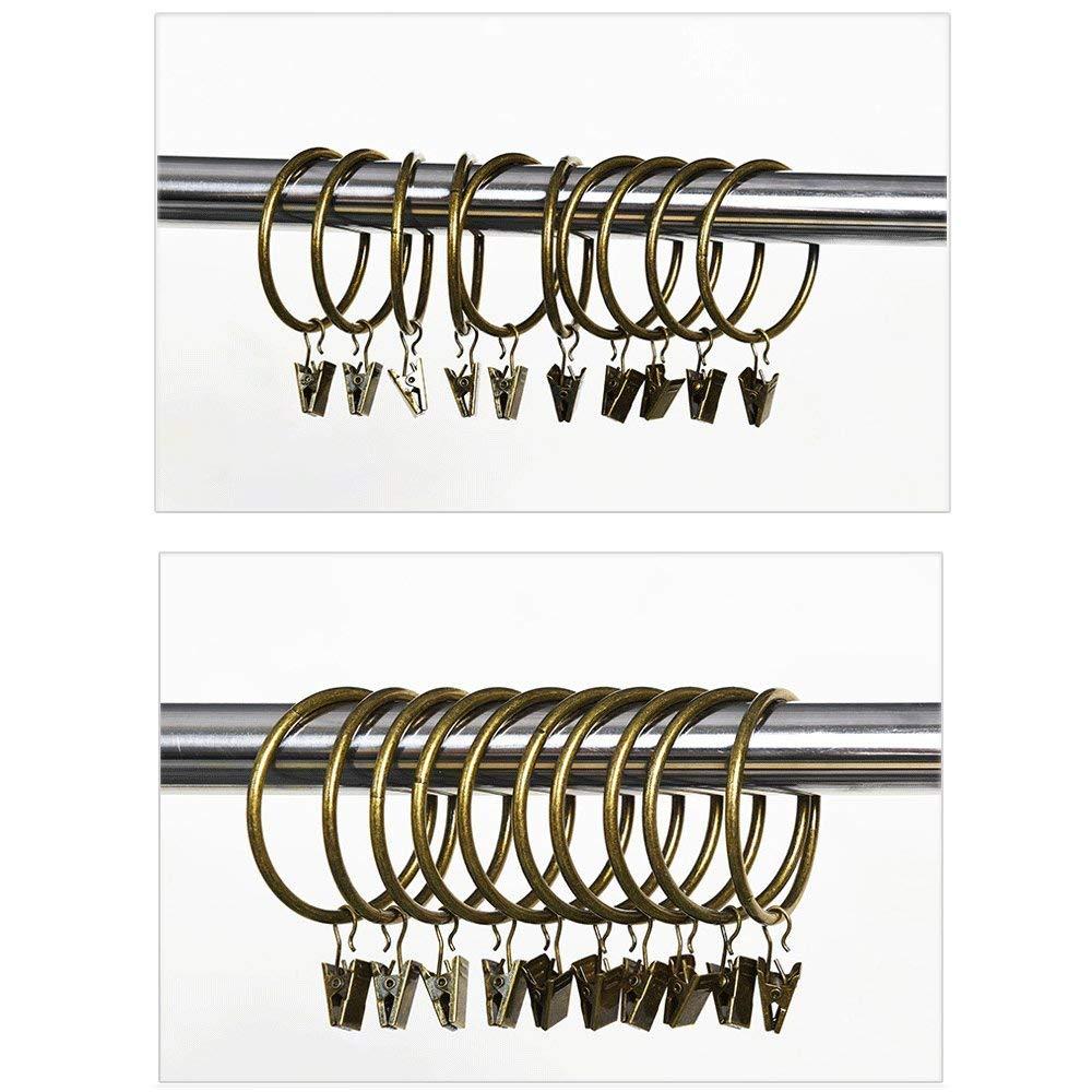 50mm//1.97inch Bronce Envejecido 50mm//1.97inch Metal Bronce Envejecido LEEQ 20pcs Vintage Anillos de Metal para Las Cortinas Anillo Inoxidable un Juego de Cortinas con Gancho Interior di/ámetro