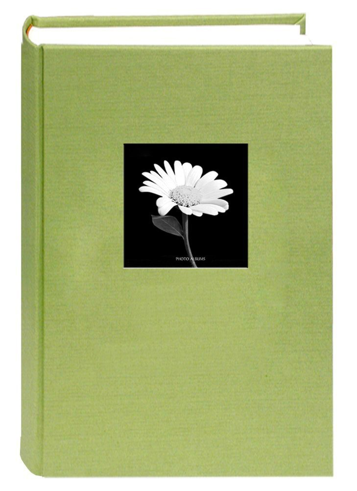 Deluxe Cloth Fabric Photo Album 4x6 300 Plastic Slip-in Pockets with Memo Space and Front Cover Theme Frame. Sage Green by Sunline