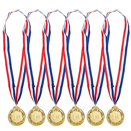 Juvale 6-Pack Gold Medal Set - Metal Olympic Style Winner Award Medals Sports, Competitions, Spelling Bees, Party Favors, 2.5 inches in Diameter 32-inch Ribbon