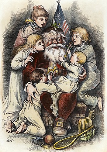 Thomas Nast Santa Claus NMerry Christmas Wood Engraving After A Drawing By Thomas Nast 1879 Poster Print by (18 x 24)