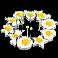 Juego de 10 anillos de acero inoxidable para huevos fritos con forma de huevo, para hacer panqueques, para hacer huevos…