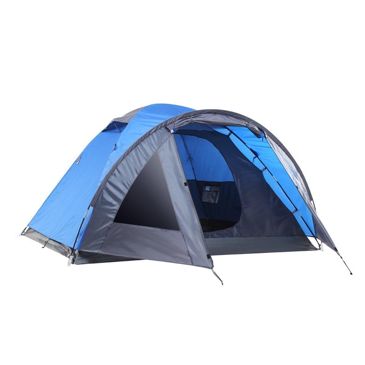 sEMOoダブルレイヤ、3 – 4人、3-season軽量キャンプ/旅行テントwith Carryバッグ  ブルー B06XCMHNPS
