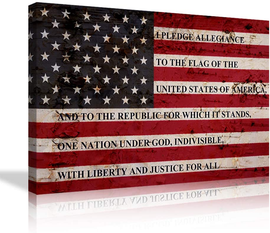 Large American Flag Canvas Wall Art Pledge of Allegiance Art American Flag Wall Art Artwork Picture Framed Canvas Paintings HD Prints Home Decor, Ready to Hang