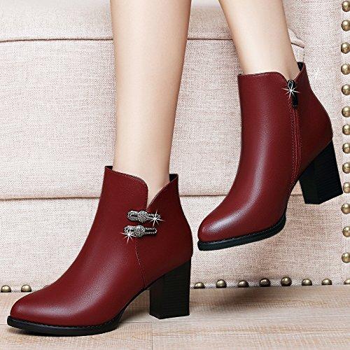 AJUNR-Zapatos De Mujer De Moda Consejos De Moda Con High-Heeled Zapatos Zapatos De Algodón Consejos De Moda Y Versátil Versión Coreana Más Cálida De Terciopelo Rojo Zapatos De Mujer 39 39