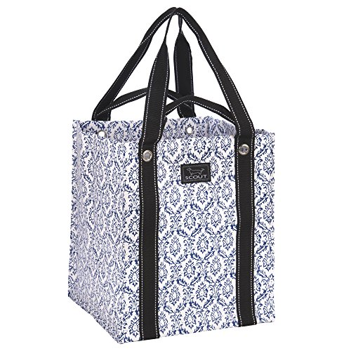 SCOUT Bagette Reuseable Large Grocery Shopping Tote Bag, Folds Flat, Two Handle Lengths, Water Resistant, The Blue Hour