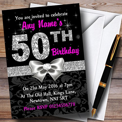 Pink Black Silver Diamond 50Th Birthday Party Personalized Invitations