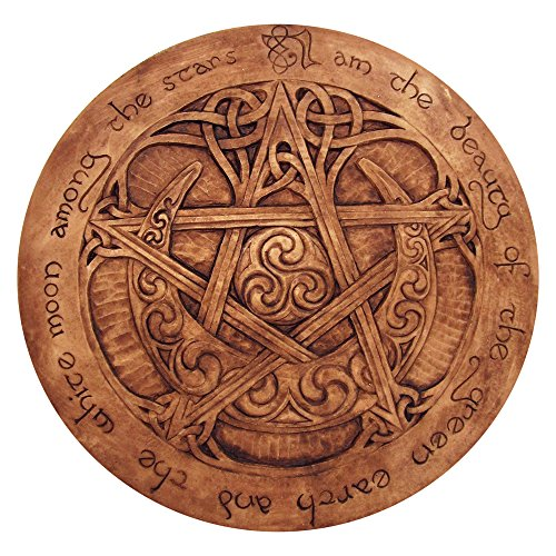Large Moon Pentacle Plaque in Wood Finish - Pentacle Wall