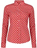 ERZTIAY Women's Tops Feminine Long Sleeve Polka Dotted Button Down Casual Dress Blouses Shirts (Red White, XX-Large)