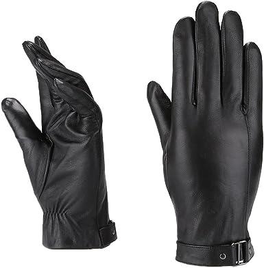 MoDA Mens Mr Pittsburgh Mens Wrist Strap Leather Gloves