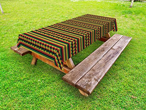 Ambesonne Kente Pattern Outdoor Tablecloth, Traditional African Pattern in Lively Colors Indigenous Culture Folklore, Decorative Washable Picnic Table Cloth, 58 X 84 Inches, Multicolor from Ambesonne