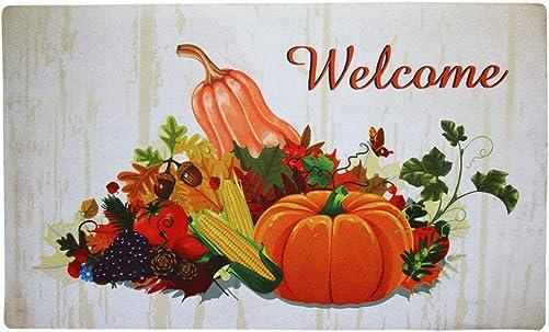 Fall Door Mat Outdoor Indoor Welcome Fall Pumpkin Print Floor Mat, Autumn Holiday Entrance Rug Non Slip Rubber Doormat 29×17 inch