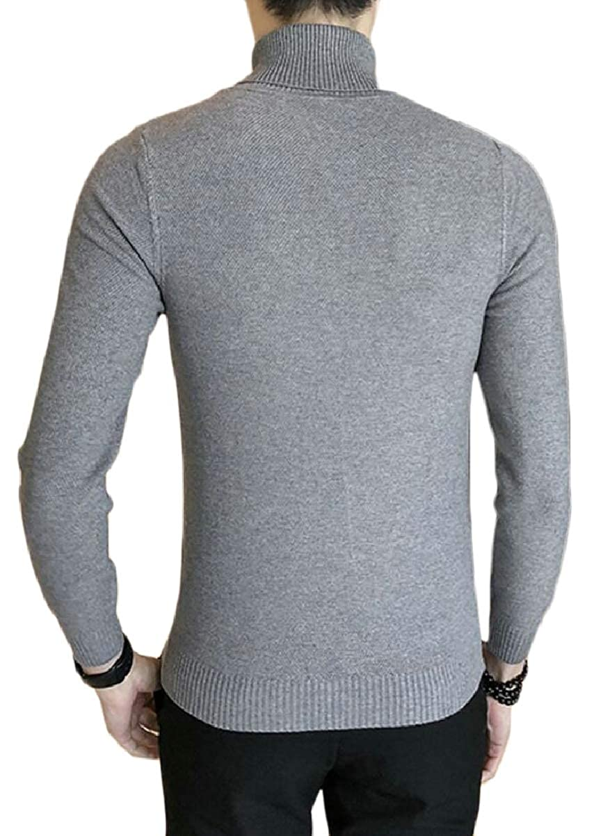 CBTLVSN Mens Knitting Solid Color Winter High Neck Slim Base Pullover Sweaters