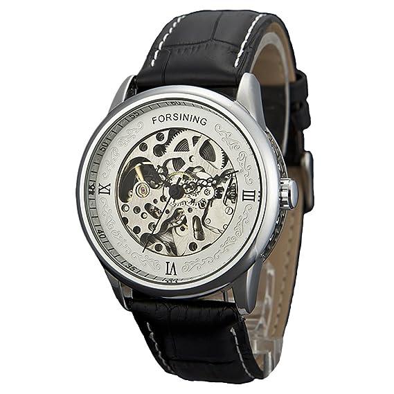 forsining Reloj de Mujer automático, correa de piel, Plata C1201: Amazon.es: Relojes