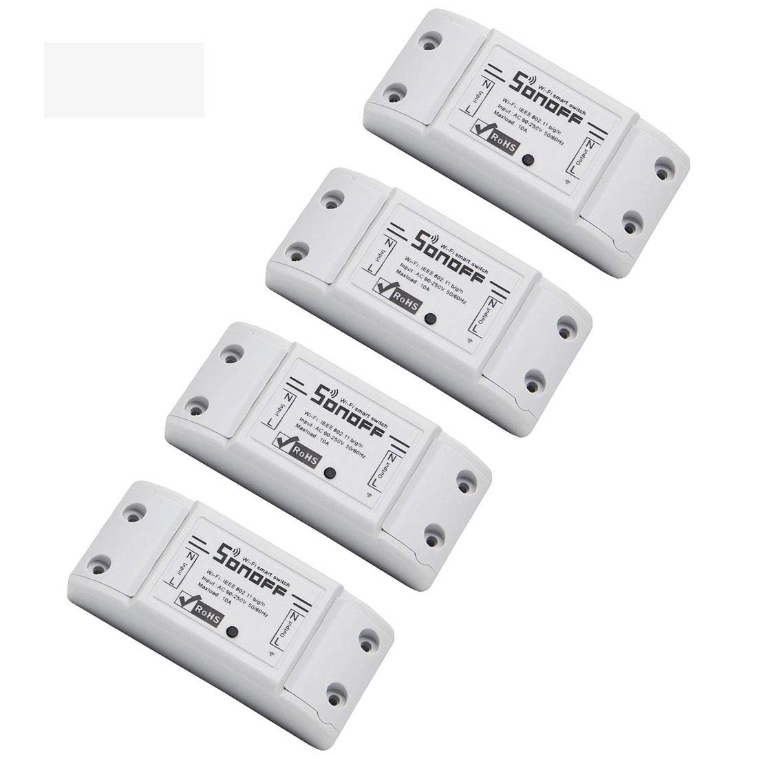 Sonoff Basic Smart Remote Control Wifi Switch Compatible with Alexa DIY Your Home via Iphone Android App (Sonoff 4Pack)