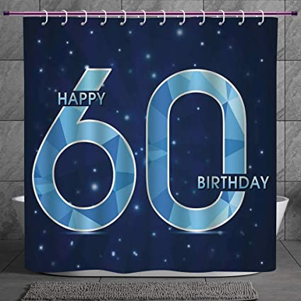 Stylish Shower Curtain 20 60th Birthday DecorationsSpace Theme Stage With Star Like Abstract