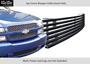 APS Compatible with 2003-2006 Chevy Silverado 1500 SS Black Bumper Billet Grille Grill Insert N19-H50358C