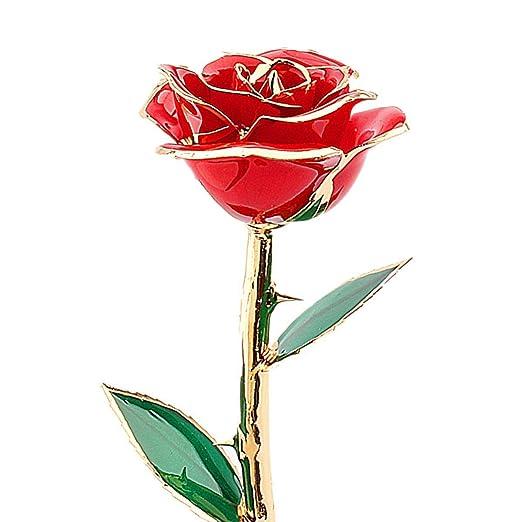 3 opinioni per Rosa Oro 24 Carati Tuffato Reale Rosa Rossa Fiore Regali di San Valentino Amore