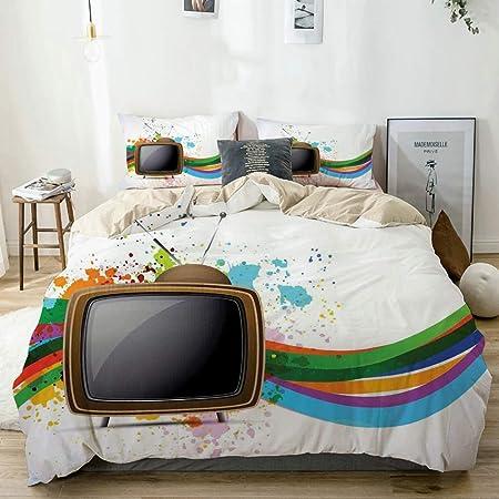 Juego de Funda nórdica Beige, televisor Antiguo con Coloridas líneas onduladas Salpicaduras de Color Comunicación de Medios, Juego de Cama Decorativo de 3 Piezas con 2 Fundas de Almohada: Amazon.es: Hogar