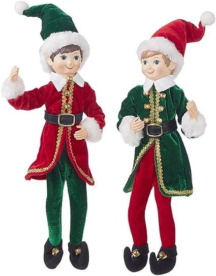 """RAZ Imports Santa/'s Little Helpers 16/"""" Posable Elf Assortment of 2"""