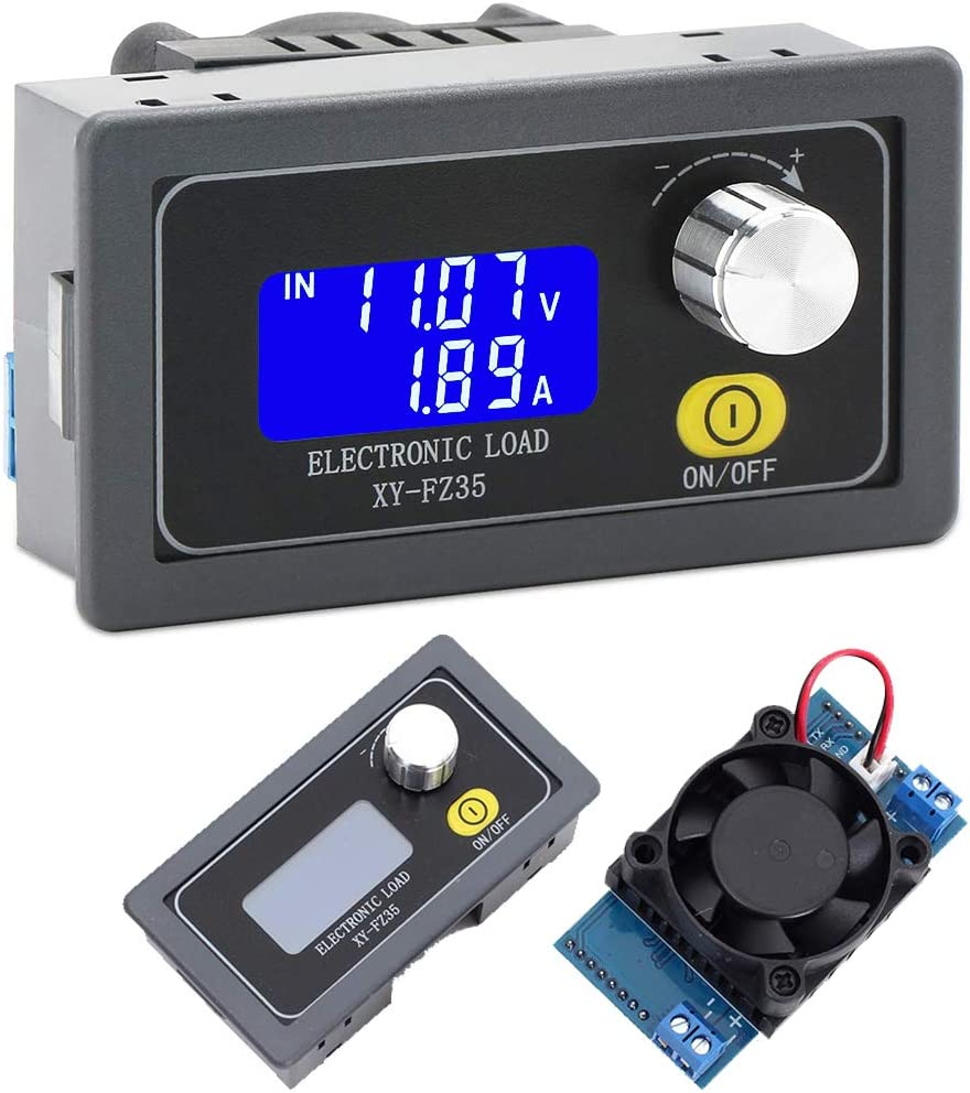 Icstation Constant Current Electronic Load Tester, 5A 35W Adjustable Load Detector, Battery Capacity Tester, Monitor Variable Resistor With Cooling Fan