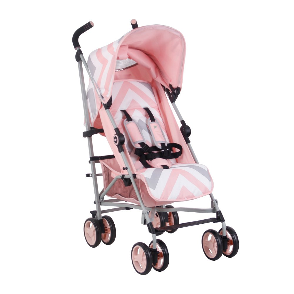 My Babiie US02 Pink Chevron Baby Stroller Lightweight Baby Stroller with Carry Handle Silver Frame and Pink Chevron Lightweight Travel Stroller Suitable from Birth 33 lbs