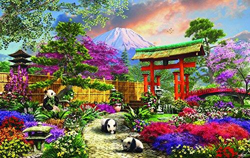 (SunsOut Fuji Flora - Japanese Panda Floral Garden Mountain Scene - 550 Pc Jigsaw Puzzle)