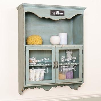 Shabby Chic Vintage Blue French Wall Cupboard W50 X D19 5 X H65 5cm