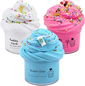 slimefavors 3 Pack Butter Slime Kit, Coffee Slime, Ice Cream Slime and Cake Slime, Super Soft & Non-Sticky, Birthday Gifts for Girls and Boys