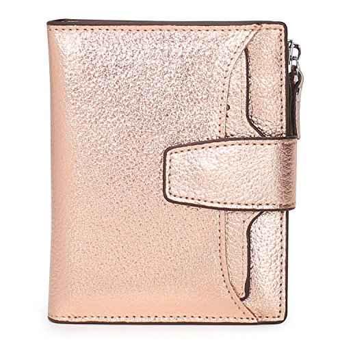 AINIMOER Women's RFID Blocking Leather Small Compact Bi-fold Zipper Pocket Wallet Card Case Purse(Lichee Champaign Gold) ()