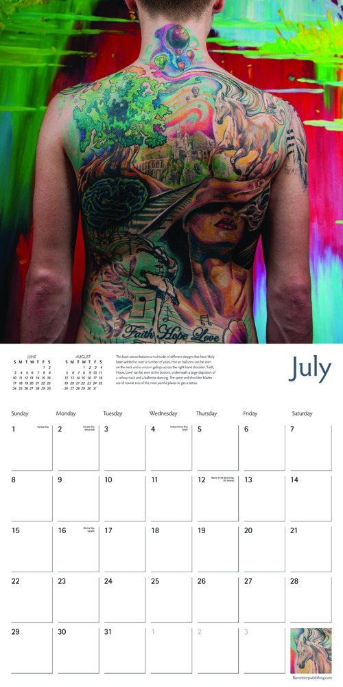 Tattoo Art 2018 12 x 12 Inch Monthly Square Wall Calendar