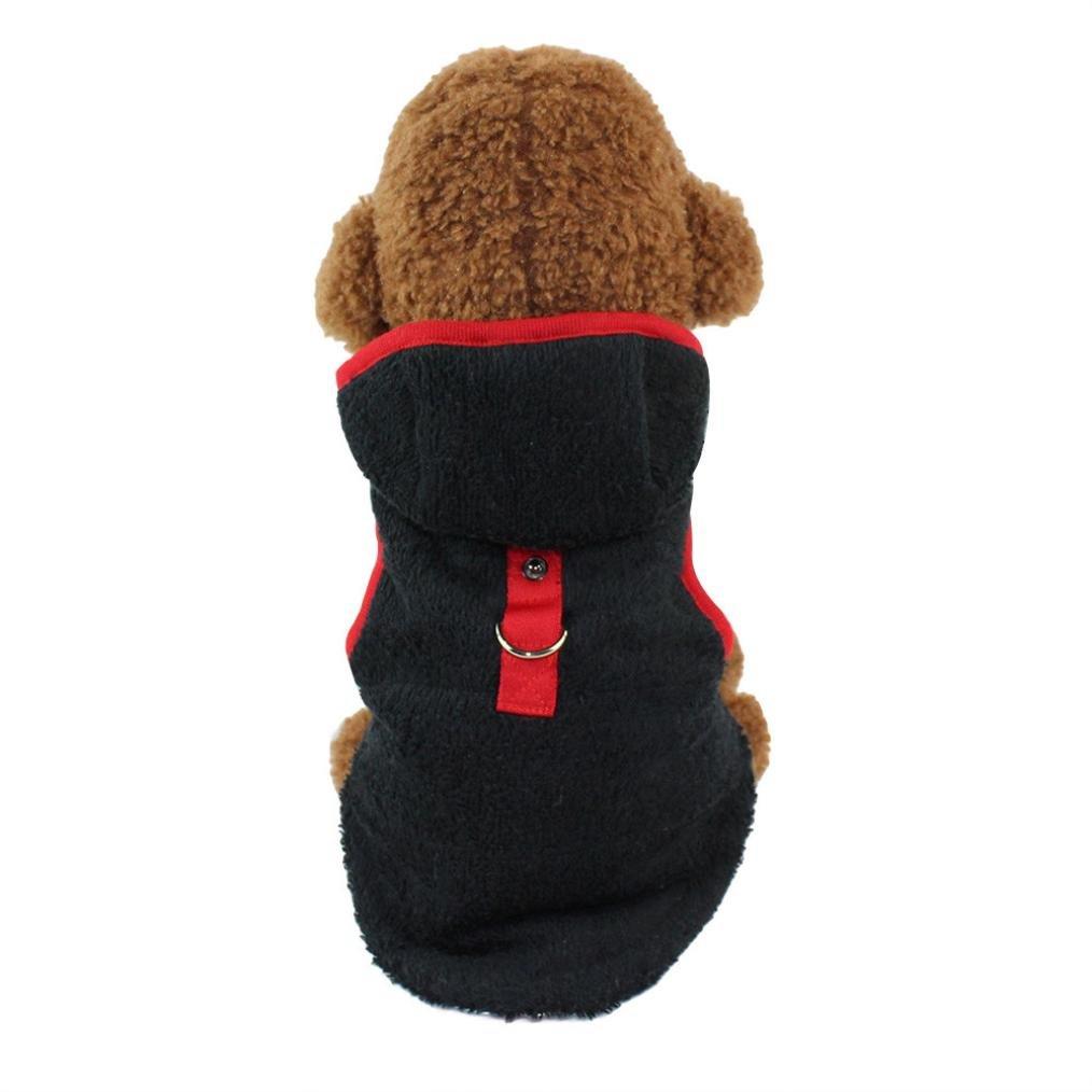 Hundekleidung Hundemantel Warm Wintermantel Haustier Mantel Hund Kleider Jacke Hund Welpen Kleidung Weste für Herbst Winter Schwarz) Amonfineshop_2586