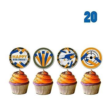 20 Count For Nerf Cupcake Toppers Gun Picks Target Birthday Bullet