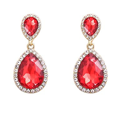 siam cubic pear red crystal earrings with zirconia shape handmade bridal deep products swarovski on