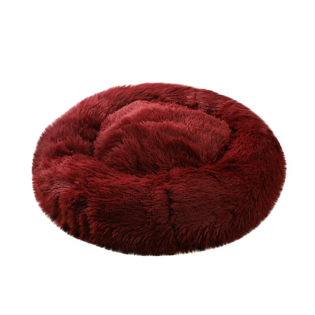 Pet Bed, Dog Cat Breathable Round Bed Winter Warm Sleeping Bag Long Plush Soft Pet Bed Calming Bed (Wine, XL) by Aritone - Pet