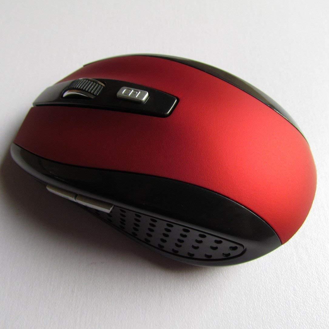 hanfang 2.4G Rat/ón inal/ámbrico 7500 Rat/ón /óptico para computadora Ratones ergon/ómicos para computadora port/átil (Rojo)