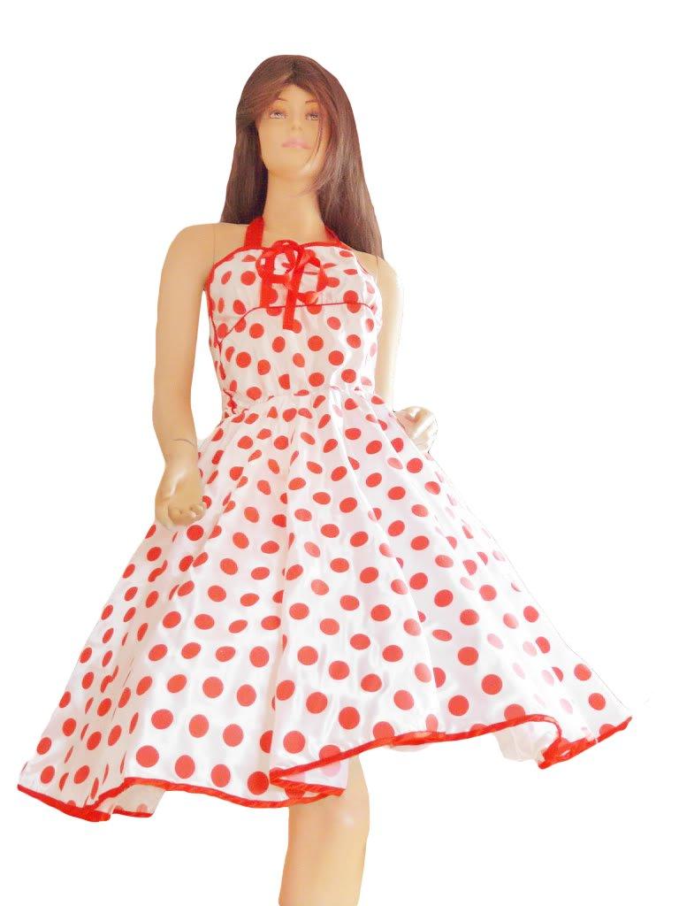 Kleid Kleider für Petticoat Petticoats Pettycoat 50er 60er weiß rot K12