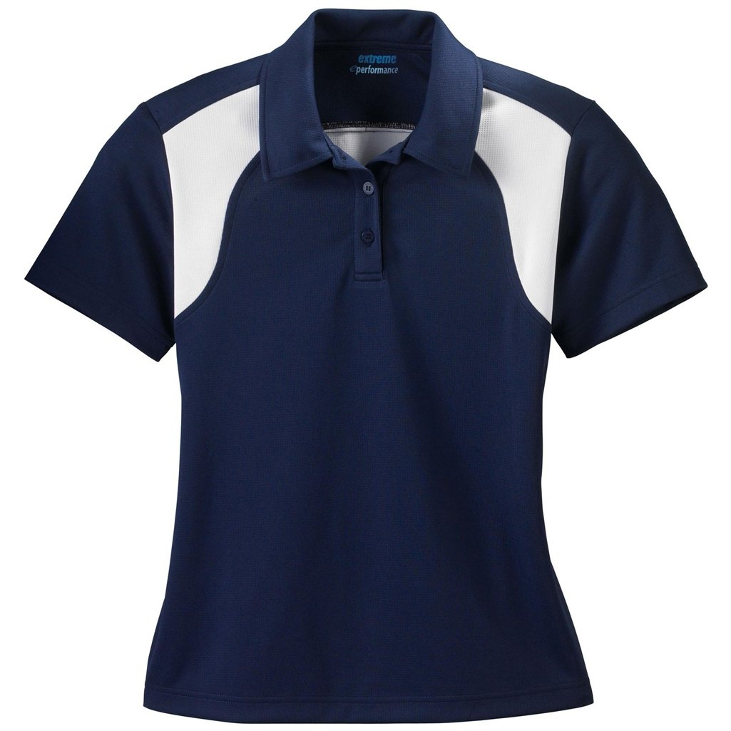Ash City Ladies E Performance Polo (Large, Classic Navy/White) by Ash City Apparel