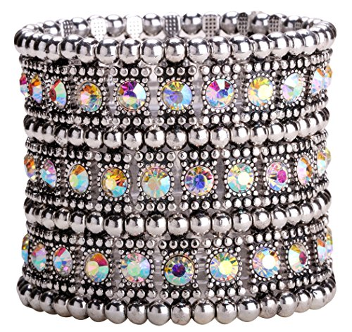 2 Row Stretch Bracelet - YACQ Jewelry Women's Multilayer Crystal Stretch Bracelet 3 Row