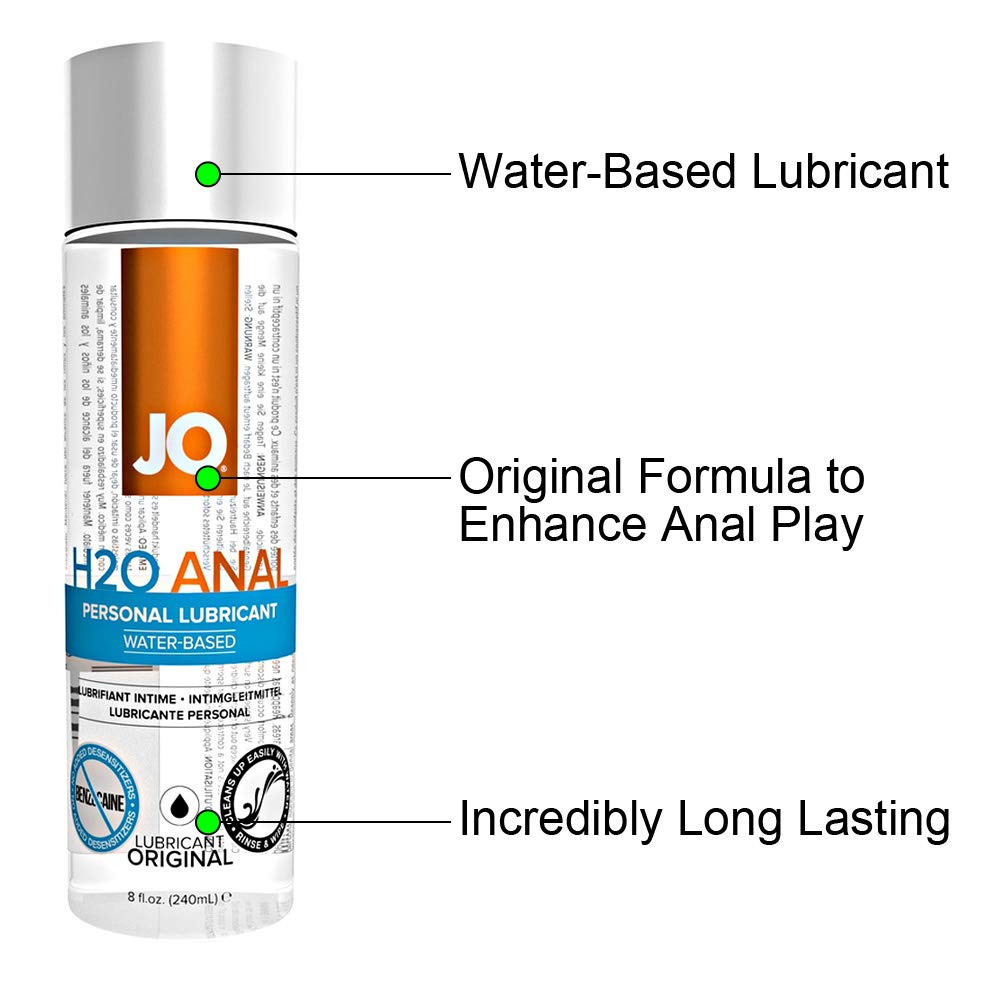 JO H2O Anal Water Based Personal Natural Lubricant, Original 8 ounce, Sex lube for Men, Women, Couples